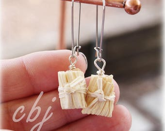 Tamale Earrings, Tamale, Tamale Jewelry, Handmade out of Polymer Clay Tamale Earrings, Stainless Steel