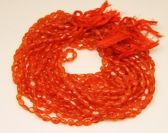 1strand - natural carnelian plain oval 6 by 8mm