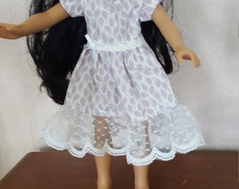 Lavender Print Dress for Wellie Wishers and Hearts for Hearts Dolls