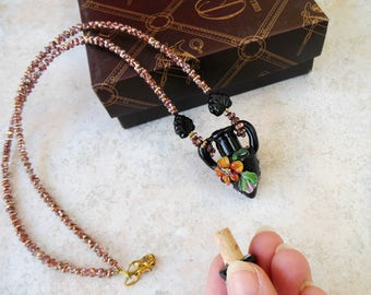Empty Vial Necklace Black Vials Pendant Amphora Jewelry Glass Mini perfume Bottle Accessory Lampwork Jug  SRA Gift for Wife