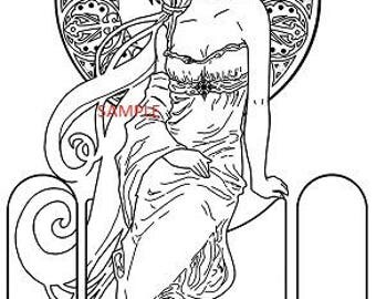 Art Noveau Lady  Cross Stitch Chart