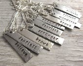 Inspirational Necklace, Handstamped Jewelry, blessed, stronger, breathe, brave, wanderer, Christmas Gift