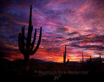 Landscape room decor, landscape art, Landscape, art print, large wall art, red, purple, pink, cactus, art, cactus print, print, sunset
