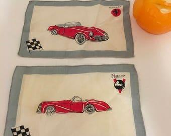 "Ferrari Flag, FERRARI LINEN HANDKERCHIEF, Pegasos Spanish Race Car, Italian Race Cars, Suitable for Framing, 8"" X 5"" at Modern Logic"