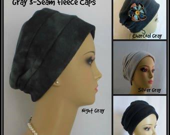 3-seam Gray Black Fleece Turban, Winter Chemo Headwear, Cancer Patient Hair Covering Gift, Tichel Mitpachat Cap, Washable Cancer Patient Hat