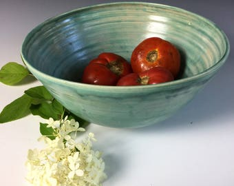Aqua Serving Bowl by Leslie Freeman, One of a kind, Ready to ship.