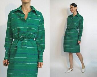 60s Woven Irish Wool Striped Dress / Vintage 1960s John Hagarty Dress / 60s 70s Woven Wool Dress / Green Striped Shirt Dress / Mini Dress