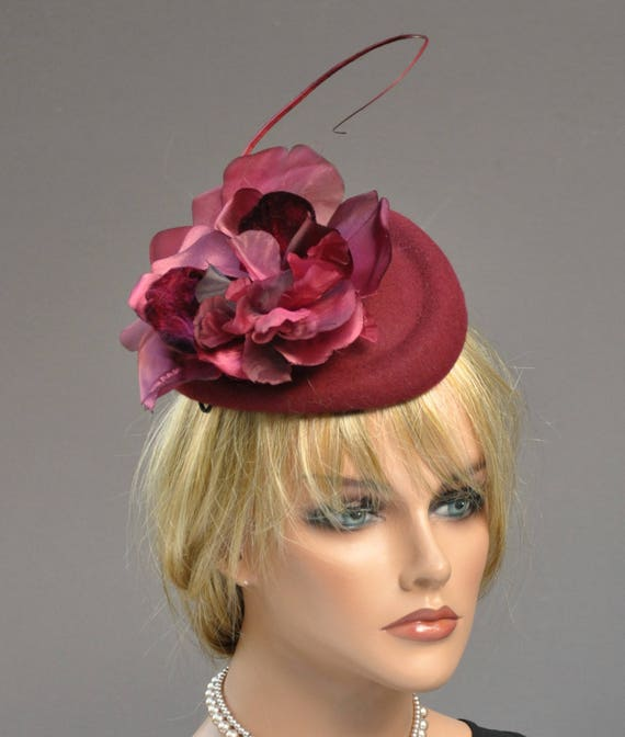 Derby Fascinator, Wedding Fascinator, Burgundy Wine Hat, Derby Fascinator Hat, Formal Hat