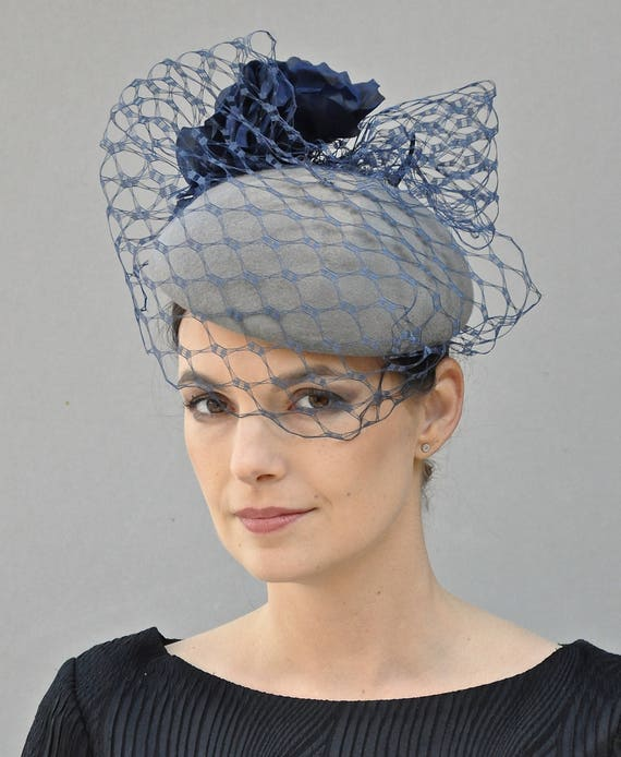 Fascinator, Wedding Fascinator Hat, Derby Fascinator, Navy Fascinator, Gray Fascinator, Fascinator with Veil Formal Hat Dressy Hat Ascot Hat