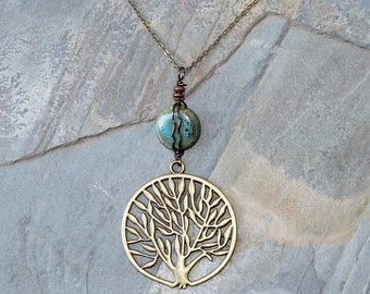 Tree of Life Necklace, Ceramic Necklace, Wire Wrapped Necklace, Turquoise Necklace, Blue Necklace, Tree Jewelry, Life Jewelry, For Her