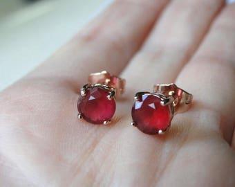 One Day Sale Ruby Earrings, Gemstone Studs, 18k Rose Gold Plated Ruby Studs, Rose Gold Earrings, Gold Earrings, Filigree Rose Gold Setting