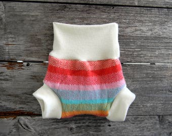 Upcycled Wool  And Organic  Merino Wool Interlock Soaker Cover Diaper Cover With Added Doubler Girly Stripes SMALL 3-6M Kidsgogreen