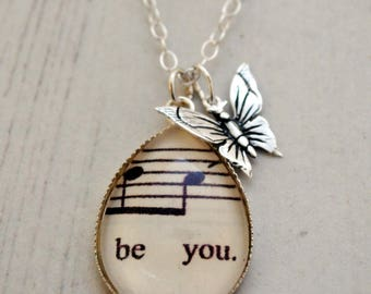 Be You Necklace, Butterfly Charm, Sterling Silver, Words Pendant, Motivational Necklace,  Inspirational, Good Luck, Best Friend, Be Yourself