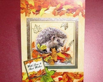 Handmade Fall Card - Thoughts of Autumn Hedgehog With Love and Best Wishes