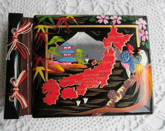 Vintage Wooden Photo Album Japan Hand Painted with Mounting Corners