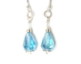 Light Blue Crystal Teardrop Earrings, Sterling Silver Earrings, Crystal-Cut Glass Bead Earrings, One Inch Dangle Earrings, Blue and Silver