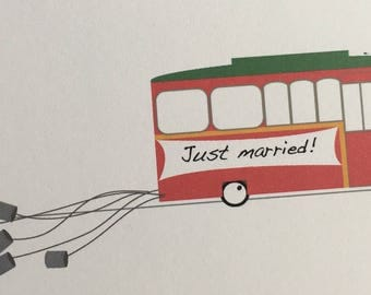 Cleveland Wedding  announcements, Cleveland wedding thank you cards (50), Cleveland trolley