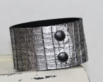 Metallic Leather Cuff Bracelet  Genuine Leather Antiqued Silver Leather Cuff