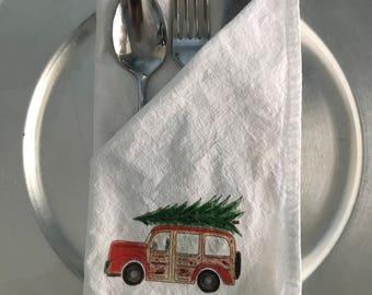 Flour Sack Napkins, Vintage Car and Tree, Holiday Four Sack, Festive Holiday Dining, Party Decor, Hostess Gift, Holiday Dining, Christmas
