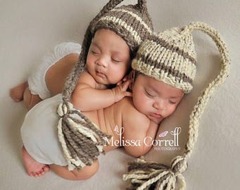 Newborn Twin Props, Baby Boy Twin Hats, NewbornTwin, Newborn Twin Hats, Knit Elf Hat, Stocking Hat, Newborn Photo Prop, Also Sold Separately