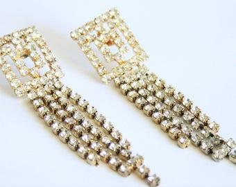 Long crystal earrings.  Vintage rhinestone earrings.  Very long earrings.  Vintage jewelry