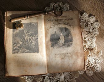 Antique Small Leather Polyglott Bible 1836