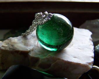 Emerald Green Glass Vintage Marble Pendant
