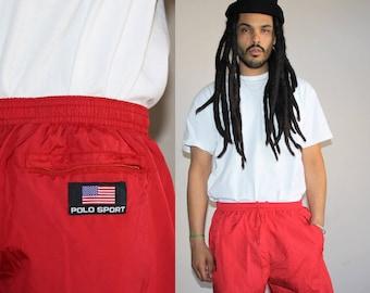 1990s Vintage Ralph Lauren Polo Red Swim Trunk Shorts - 90s Ralph Lauren Men's Bathing Suit - 90s Clothing - MV0230