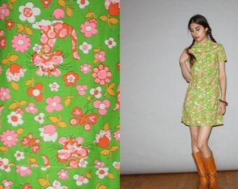 On SALE 35% Off - Vintage 1960s Novelty Neon Floral Tiger Flower Shift Scooter Dress  -  1960s Short  Dresses  - 60s Novelty Print Floral  D