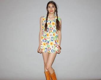 On SALE 35% Off - Vintage 1960s Novelty Hippie Floral Cool It Primary Color Tunic Dress  -  1960s Short  Dresses  - 60s Novelty Print Dress
