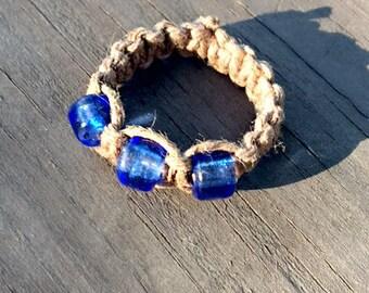 Macrame Natural Hemp Ring with Blue Beads