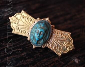 Vintage Egyptian Revival Brooch. Pharaoh. Flapper. Art Deco. Jazz Age.