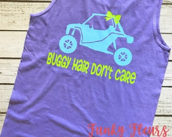 Buggy Hair Don't Care, Jeep Hair, Buggy Hair, ATV, Messy Hair, Don't Care, Glitter, Comfort Colors, Tank Top, Sleeveless