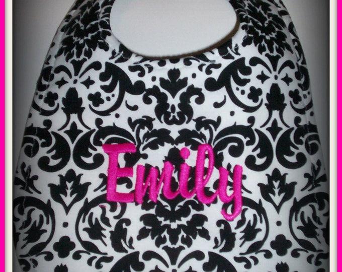 Damask handmade baby bib - embroider personalized baby bib - Black and white damask bib - monogrammed baby bib - baby girl damask bib - bib