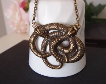 X-large Vintage brass Victorian twisted snake necklace, 3D effect, highly detailed, Victorian, Gothic N048