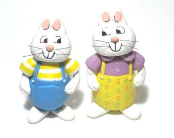 Cold Porcelain Max and Ruby Cake Topper, Max & Ruby Figurines Set, Kids Birthday Cake Topper, Rabbit Bunny Cake Topper, Keepsake, Gift
