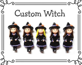 Custom Cold Porcelain Clay Witch Figurine, Pendant, Bow Center, Brooch, Magnet, Ornament, Purse Charm, Necklace, Gift /DIY Halloween Jewelry