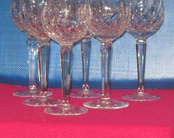 6 Lismore Waterford Crystal, Classic Balloon Crystal Wine Goblets-Glassware