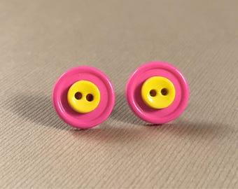 Stud earrings, pink, yellow, button stud earrings, nickel free