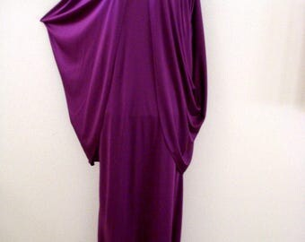Vintage 80s Purple Grecian Evening Dress - Purple Cocktail Party Dress with Beaded Shoulders - Maxi Cape Dress - Size Medium to Large