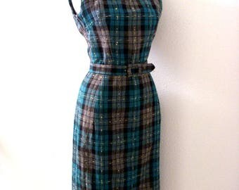 Vintage 50s Plaid Sheath Dress - Teal and Gray Wool Flannel Plaid Wiggle Dress w Matching Belt - Sleeveless Plaid Dress - Small to X Small