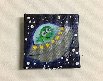 Flying Saucer art magnet, miniature painting magnet, acrylic canvas art magnet for home or office.