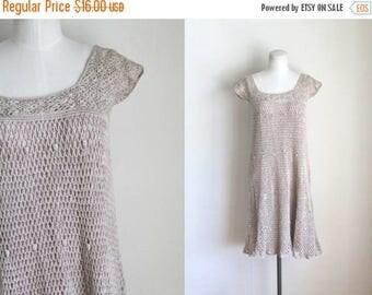 AWAY SALE 20% off 50 Percent OFF...last call // vintage 1970s crochet dress - Sand cotton open knit boho dress / xxs-xs