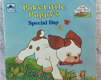 SUMMER SALE 1989 Poky Little Puppy's Special Day 80s Kids Picture Book Golden Books Character