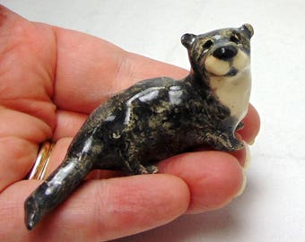 Otter Miniature Animal - Terrarium Miniature - Pottery Animal - Ceramic Figurine