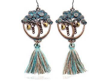 Turquoise tassel tree earrings - surgical steel earrings, teal, copper and bronze earrings, stainless steel earwires nickel free