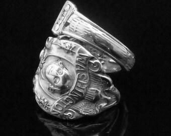 Presidental Sterling Silver Souvenir Spoon Ring, George Washington