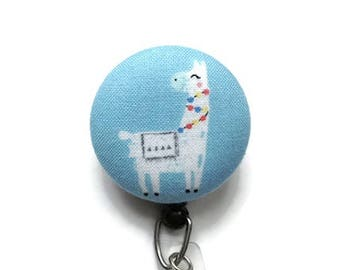 Llama Retractable Badge Reel/Nurse Badge Reel/Retractable Badge Holder/Id Badge Holder/Badge Pull/Swivel Badge Reel/Name Badge Clip/Blue