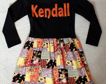 Personalized Thanksgiving Dress - READY TO SHIP,  scarecrow, patchwork, autumn, fall, sunflowers,pumpkins, Halloween,  thepunkinpatch