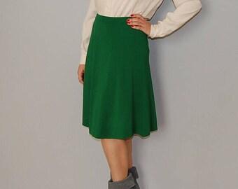 pine green knitted mini skirt / full frilly knitted skirt / pine green tulip frilly skirt / m